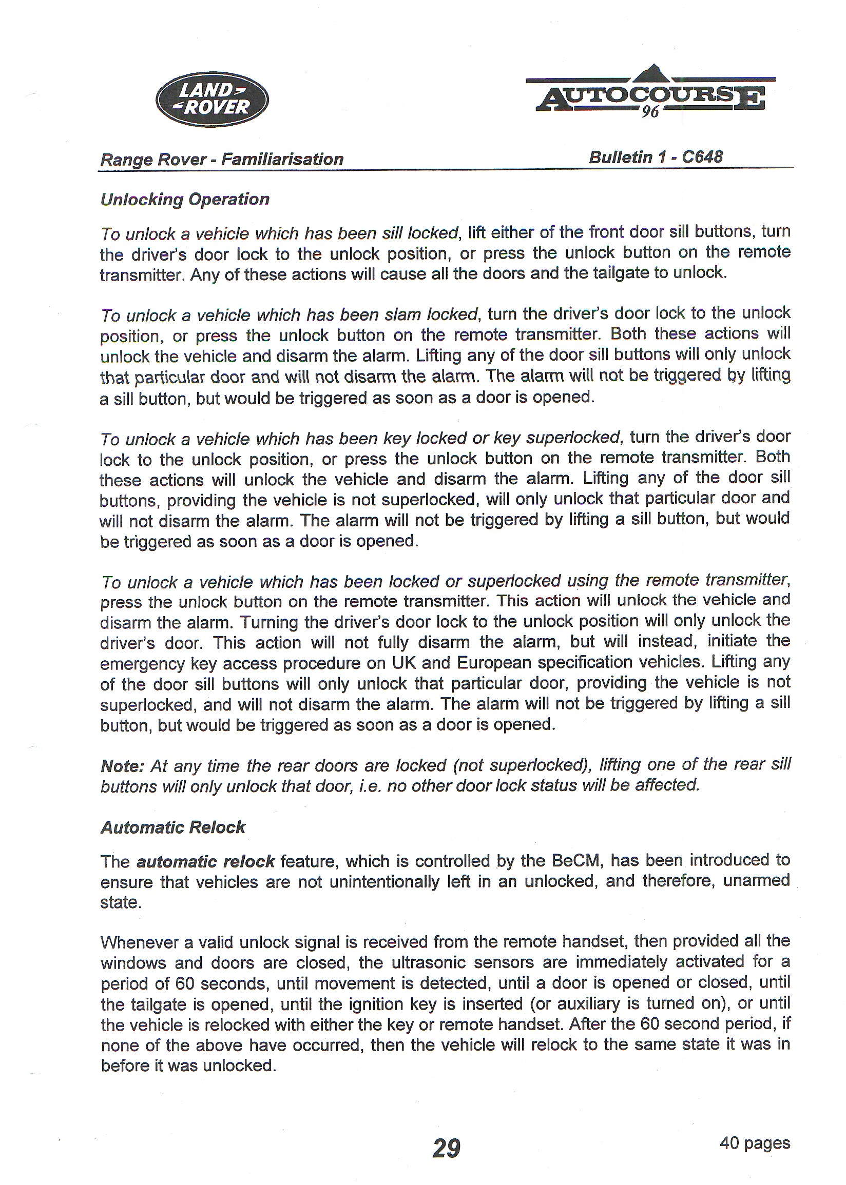 EKA Lock out procedure for 1999 P38 | Page 2 | LandyZone