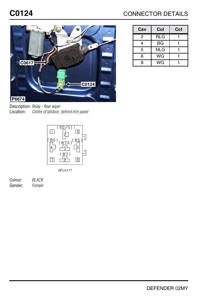 rear wiper relay location 2003 defender landyzone land rover c0124 defender 2002 rear wiper relay jpg