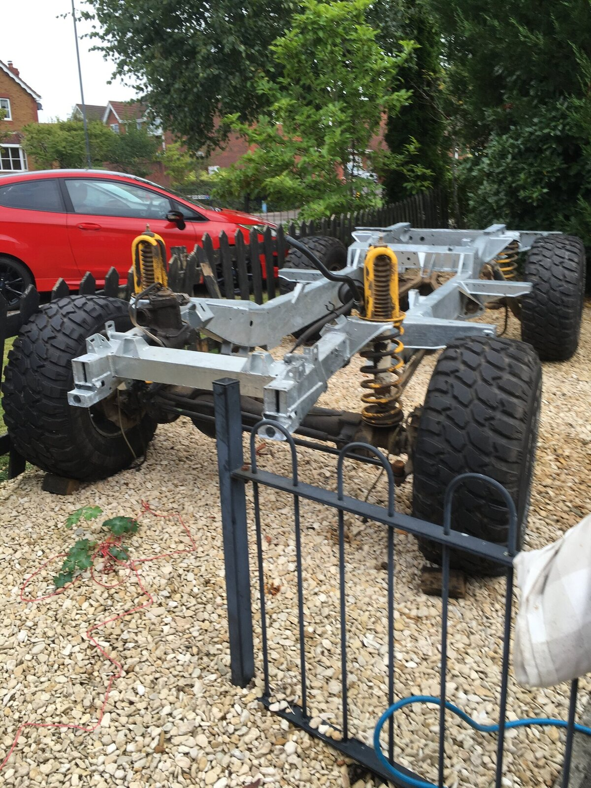 "Galvanised Land Rover 100"" defender chassis custom Richards"