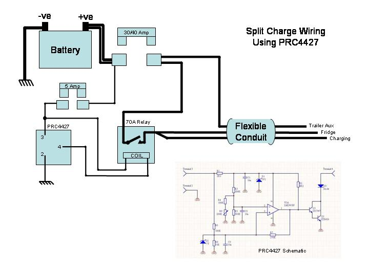 Wiring diagram for s socket and split charge relay